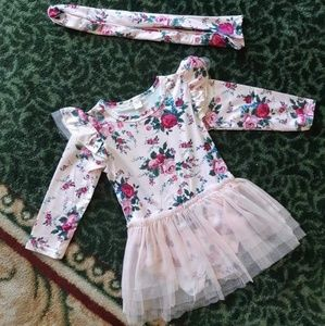 Other - Floral fly Sleeve tutu Lace dress+headband